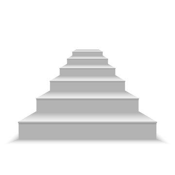 realistic blank white stairs