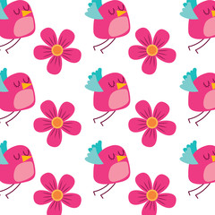 cute flying bird and flowers decoration pattern vector illustration