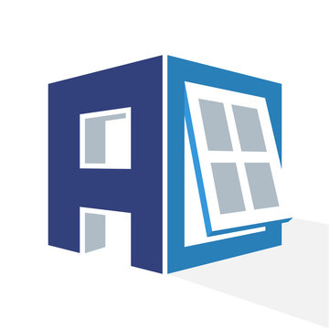 iconic logo with a combination of the window frame and the initial letter A