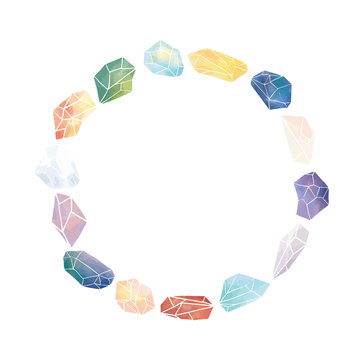 Vector illustration of watercolor crystal with blank space for text on white background.Crystal round border frame for lettering.A circle frame.