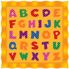 Alphabet Baby Quilt, bright polka dot letters, old fashioned traditional pattern design with gold satin border and background.