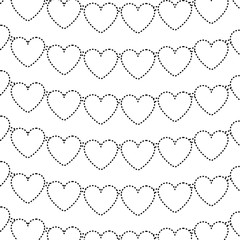 decorative garland with hearts love romantic pattern vector illustration dotted line