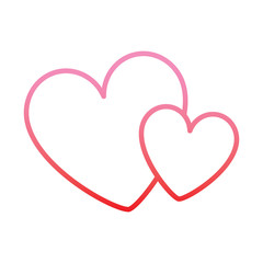 hearts love decoration romance image vector illustration degrade color line