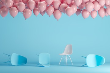 Outstanding white chair with floating pink balloons in blue pastel background room studio. minimal idea creative concept.