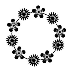 floral wreath flowers decoration ornament vector illustration black and white design