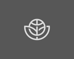 Abstract globe flower vector logo design. Global leaf eco logotype. Linear game team ball icon symbol