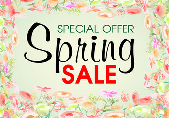 Watercolor flower spring sale vector on green background