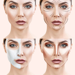 Woman step by step makes skin care procedures.