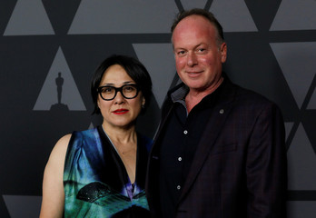 """McGrath and Naito, nominees for """"The Boss Baby,"""" pose at the reception for the 2017 Oscar-nominated films in Beverly Hills"""