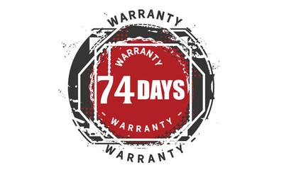 74 days warranty icon vintage rubber stamp guarantee