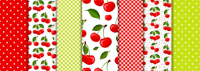 Cherry berry and spring geometric seamless patterns set vector