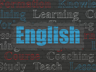 Education concept: Painted blue text English on Black Brick wall background with  Tag Cloud