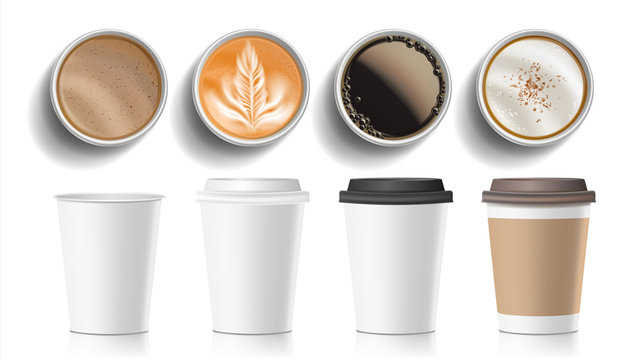 Coffee Cups Top View Vector. Plastic, Paper White Empty Fast Food Take Out Coffee Menu Mugs. Various Ocher Paper Cups. Breakfast Beverage. Realistic Isolated Illustration