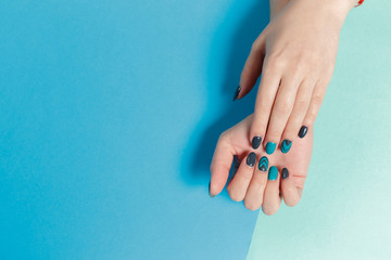 Stylish trendy female manicure.
