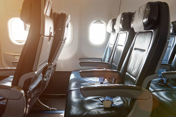 Row of seats in airplane