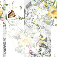 Watercolor painting of Butterfly and flowers, seamless pattern on white background