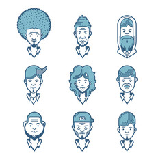 Flat line icons set of people stylish avatars for profile page, social network, social media, different age man characters, professional human occupation.