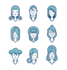 Flat line icons set of people stylish avatars for profile page, social network, social media, different age woman characters, professional human occupation.