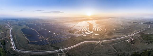 Photovoltaic solar PV at sunrise