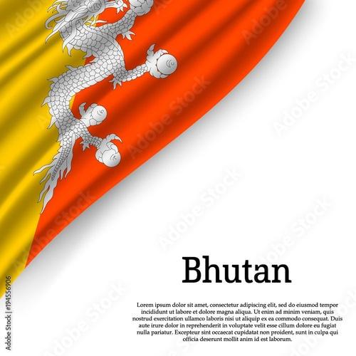flag Bhutan on white background