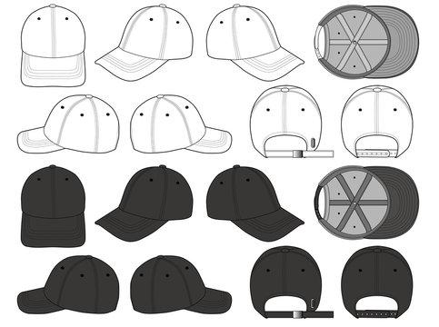 Baseball Cap fashion flat technical drawing template