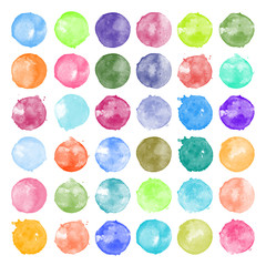Set of watercolor shapes. Watercolors blobs. Set of colorful watercolor hand painted circle isolated on white. Illustration for artistic design. Round stains, blobs of different colors
