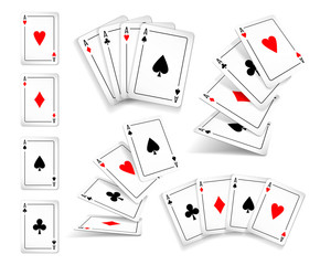 Several variants Set of four aces deck of cards