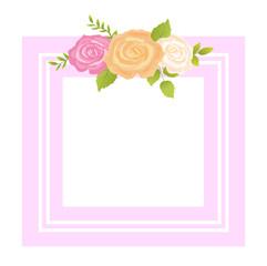 Rose Pink Orange Beige Flower Photo Frame Greeting