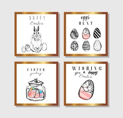 Hand drawn vector abstract creative Easter greeting postcard collection set template with painted Easter eggs and Easter bunny isolated on white backgrounds.Design for invitations,journaling,greeting