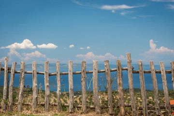 Old wooden fence near the beach