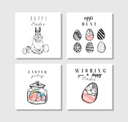 Hand drawn vector abstract creative Easter greeting cards collection set template with Easter eggs and Easter bunny isolated on white background.Design for invitations,journaling,greetings,sign,label