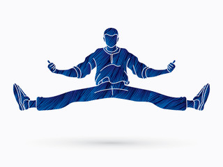 Dancer, Hip hop, Street Dance, B Boy  Dance action designed using blue grunge brush graphic vector.