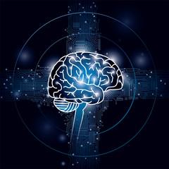脳と集積回路のイメージ