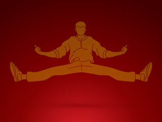 Dancer, Hip hop, Street Dance, B Boy  Dance action designed using dots pixels graphic vector.