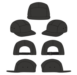 Camp Cap fashion flat technical drawing template