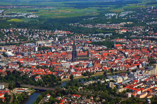 Closer Aerial view of Ulm Minster (Ulmer Münster) and Ulm, south germany on a sunny summer day