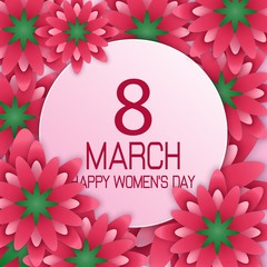 International Happy Women's Day 8 March floral greeting card with round banner