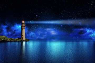 Safety and hope concept, a lighthouse on a tropical island on the ocean with a beam of light in the night sky with stars Wall mural