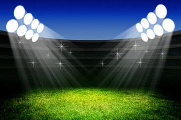 In de dag Stadion Sport event celebration ceremony concept, light of spotlights on the green grass field of the stadium arena