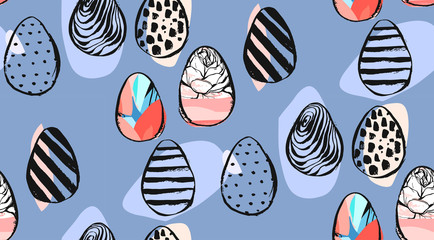Hand drawn vector abstract creative universal Easter seamless pattern design with Easter eggs in pastel colors isolated on blue background.Spring unusual graphic decoration
