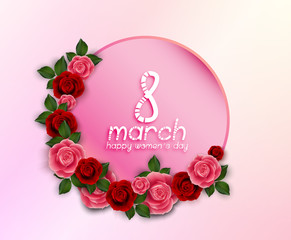 International Happy Women's Day 8 March floral greeting card with round banner on pink background