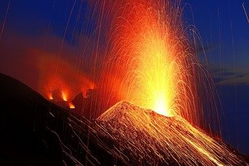 Volcanic eruption, Stromboli volcano, Stromboli Island, Lipari Islands, Italy, Europe