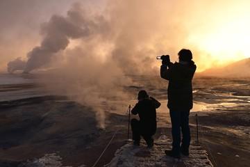 Steaming Solfatars, near Reykjalith, Northern Island, Island