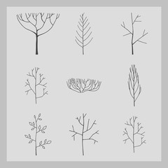 collection of tree icon with gray background