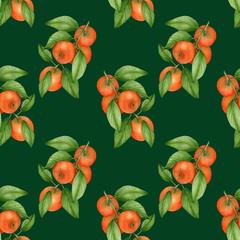 Tangerine watercolor pattern