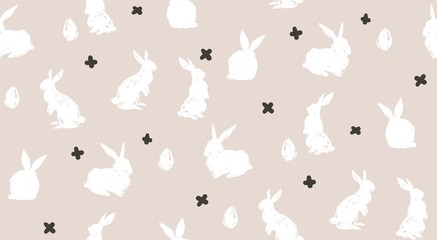 Hand drawn vector abstract sketch graphic scandinavian freehand textured modern collage Happy Easter cute simple bunny illustrations seamless pattern and Easter eggs isolated on white background