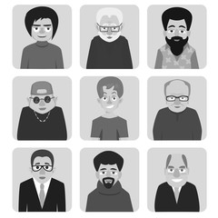 men's cartoon avatar in black and white vector avatars