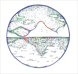 Color illustration of mountains and symmetrical reflection of them in the water.
