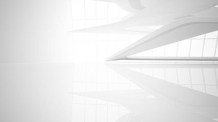 White smooth abstract architectural background. 3D illustration and rendering Wall mural