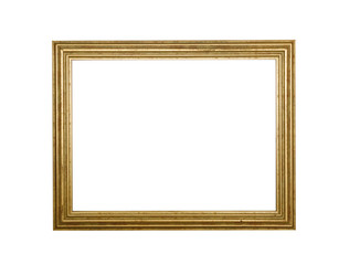 Antique blank photo frame isolated on white background. Vintage poster design.